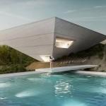 二個倒立金字塔組成帶泳池的別墅