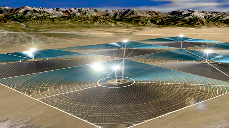 中國在戈壁進行巨大的太陽能發電