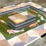 徒手繪出擬真的3D鯉魚池塘