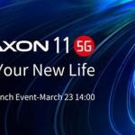 中興通訊將於3月23日推出新款智能手機Axon 11 5G