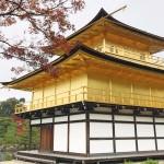 京都金閣寺的紅葉滿天